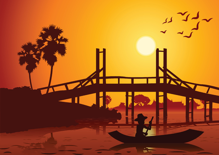 A sunset landscape with a rowing boat back to home near wooden bridge around with nature, countryside of east lifestyle silhouette design vector illustration