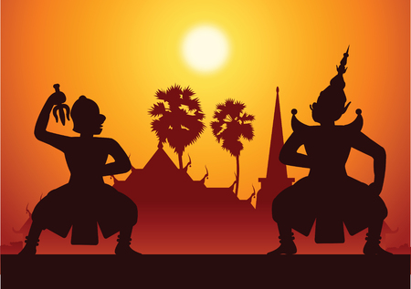 Thai ancient literature play,Ramayana,king of monkey ready to fight with king of giant,silhouette style,scenery background,vector illustration Illustration