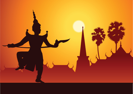 Traditional dance drama art of Thai classical masked