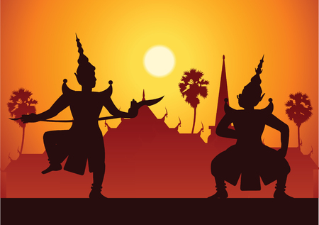 Traditional dance drama art of Thai classical masked.Thai ancient literature performance, Ramayana, king ready to fight with king of giant, silhouette style, scenery background as painting, vector illustration