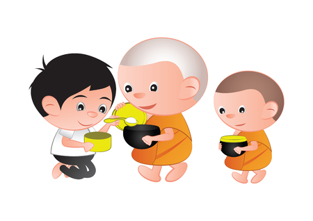 Buddhist give food offering to a monk or ask as a favor receive food or ask for alms,routine of monk,isolated,vector illustration