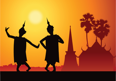 Thai music dancer For important festival and ceremony,silhouette design with scenery background,vector illustration