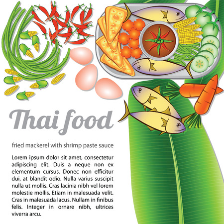 Thai delicious and famous food fried noodle stick with shrimp or pad thai with isolated white background and ingredient,vector illustration