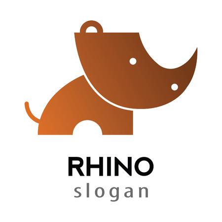 rhino cartoon silhouette style logo