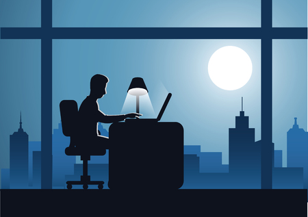 business man work overtime hard with laptop to complete his work with cityscape background on night time,silhouette style