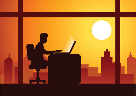 business man work overtime hard with laptop to complete his work with cityscape background on sunset time,silhouette style