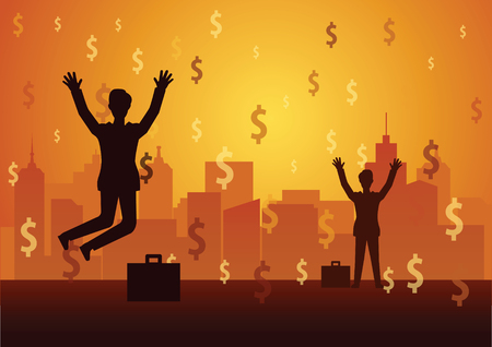 businessman raise hand happy with dollar sign rain fall.mean they success in game dollar sign are rich.concept illustration