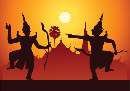 traditional dance drama art of Thai classical masked.Thai ancient literature performance,Ramayana,king ready to fight with king of giant,silhouette style,scenery background,vector illustration Иллюстрация
