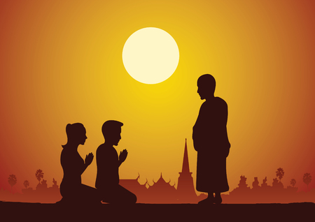 Buddhist woman and man pay respect to monk politely with faith and believe,silhouette style vector illustration