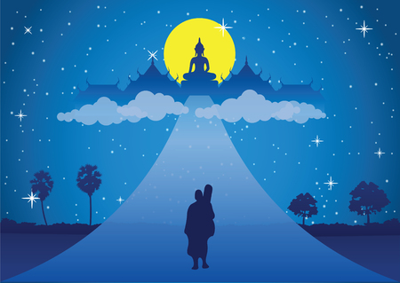 monk walk on the road head to heaven on full moon night. Mean free of suffer peace silent and dharma  .silhouette style,vector illustration Illustration