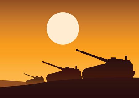 tank still on desert to attack enemy,silhouette design,vector illustration
