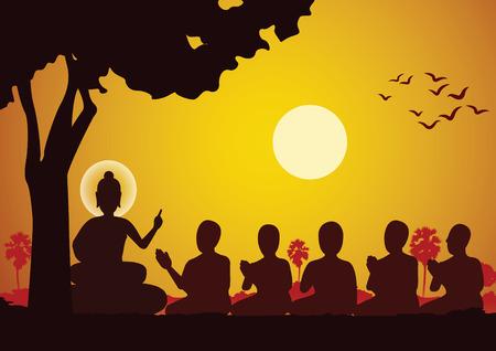 Señor de Buda sermón a cinco ascetas y se iluminó convirtiéndose en el primer monje del budismo Ilustración de vector
