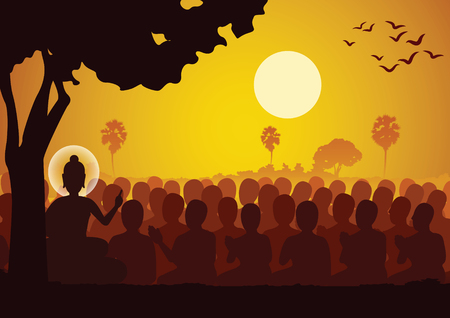Lord of Buddha sermon dharma to crowd of monk,silhouette style 矢量图像