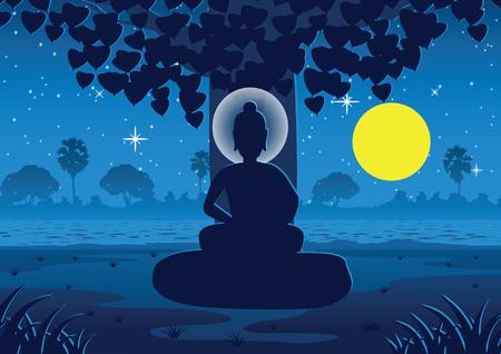 Señor de Buda se ilumina bajo un árbol en la noche de luna llena cerca del río en la India, ilustración vectorial