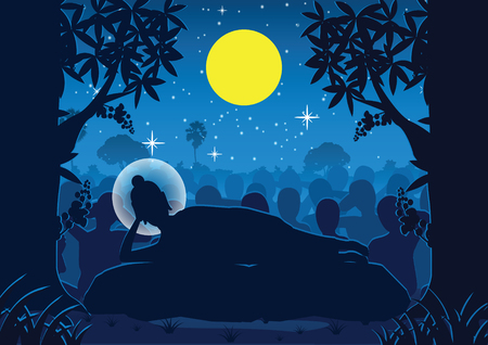 lord of Buddha was dead under tree ,used well for important days of Buddhism vector illustration