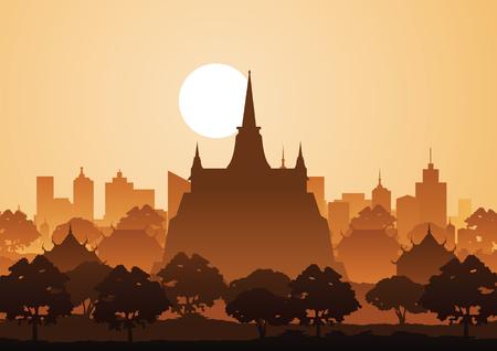 golden mountain temple or Saket,famous landmark of Thailand,silhouette style Illustration