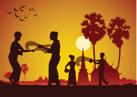 Songkran, festival de l'eau Thai Lao Myanmar, célèbre et heureuse journée