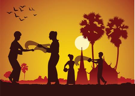 Songkran, festival del agua tailandés Lao Myanmar, día famoso y feliz
