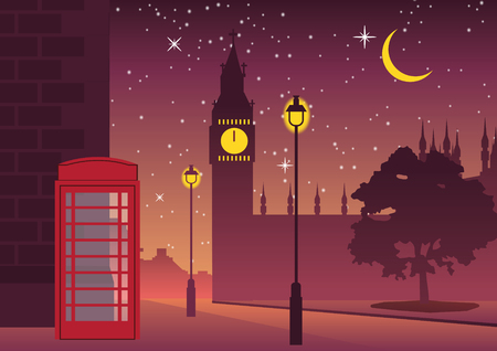 telephone box and Big Ben famous landmark of England,silhouette style