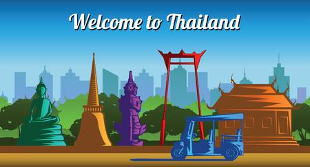 Thailand landmark multi color light and shadow style,vector illustration