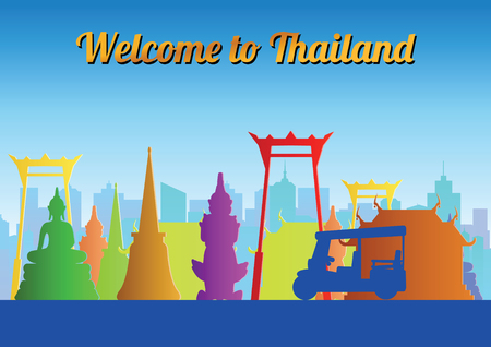 Thailand landmark colorful silhouette design,vector illustration