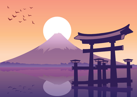 great floating gate and Fuji mount landmark of Japan at sunset time,silhouette style