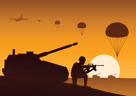 żołnierz siedzi obok czołgu gotowy do zestrzelenia spadochroniarza za pojazdem wojskowym z przodu do celu Ilustracje wektorowe