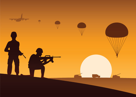 soldier hold gun and another ready to shoot,paratrooper down and vehicle move to target 일러스트