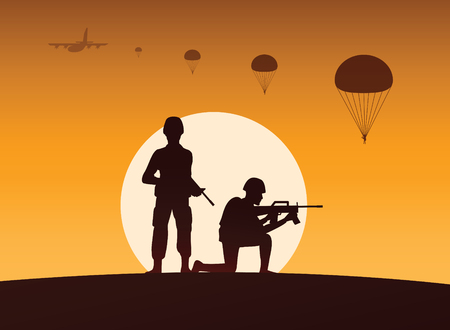 soldier hold gun another ready to shoot,paratrooper down behind,silhouette style