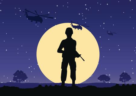 Soldado sostiene el soporte de la pistola para defender en la noche, el helicóptero vuela por encima
