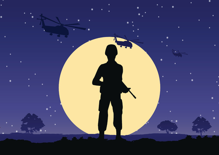 soldier hold gun stand to defend at night,helicopter fly above