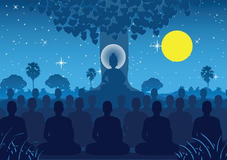 Señor de Buda mediando con multitud de monjes, estilo silueta Ilustración de vector
