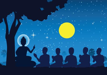 Señor de Buda sermón a cinco ascetas y se iluminó convirtiéndose en el primer monje del budismo