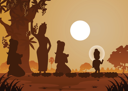 lord of Buddha was born under tree,vector illustration Vectores