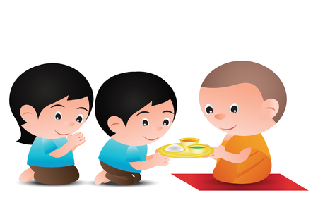 couple give food to monk cartoon version design
