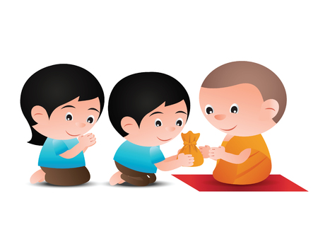 man and woman give offer to monk in cartoon version design
