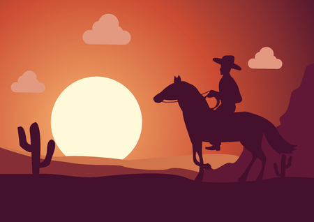 silhouette scenery cowboy in desert on sunset time Illustration