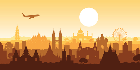 famous landmark of southeast Asia,travel destination,silhouette design