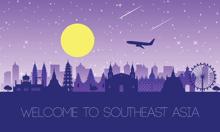 famoso monumento del sudeste asiático, destino de viaje, diseño de silueta Ilustración de vector