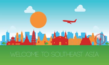 famoso monumento del sudeste asiático, destino de viaje, diseño de silueta