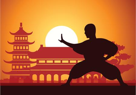 Boxeo chino Kung Fu arte marcial famoso deporte, monje Tren para luchar, alrededor con templo chino, diseño de silueta al atardecer