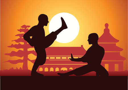 Chinese Boxing Kung Fu martial art famous sport,two boxer fight together around with Chinese temple,sunset silhouette design Stock Vector - 115047527