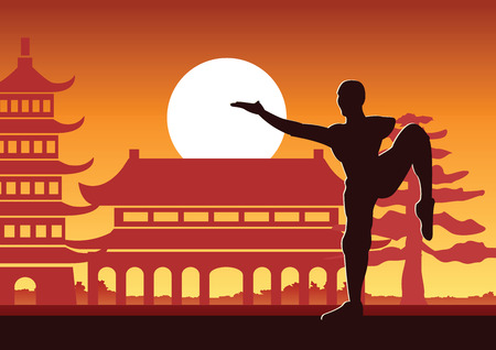Boxe chinoise Kung Fu art martial célèbre sport, moine train pour se battre, autour avec temple chinois, conception de silhouette de coucher de soleil Vecteurs