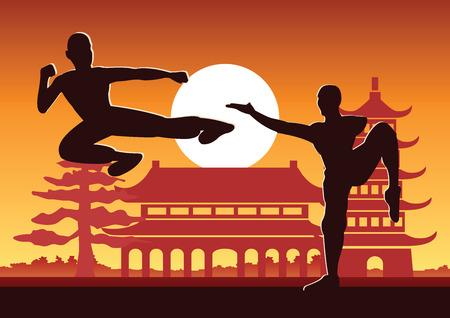 Deporte famoso de artes marciales de Kung Fu de boxeo chino, dos boxeadores pelean juntos con el templo chino, diseño de silueta al atardecer