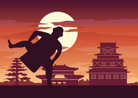 La battaglia dell'uomo grasso del Giappone chiamata Sumo pronta a combattere posa davanti al palazzo e al castello di stile giapponese, design silhouette