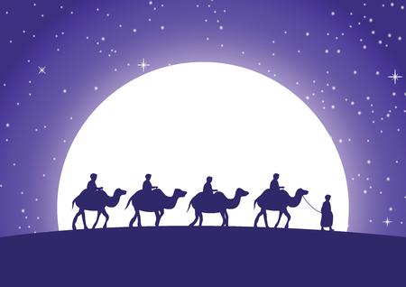caravana musulmana paseo en camello a la mezquita