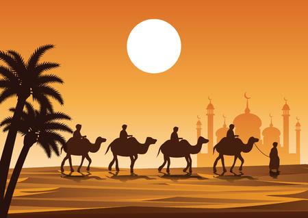 carovana musulmano giro in cammello alla moschea
