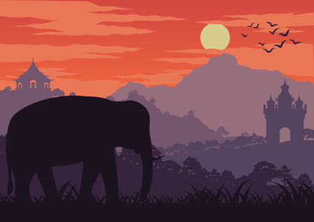 in the morning life, an elephant symbol of Thailand and Laos walk in wood near landmark,silhouette design and vintage color,vector illustration Banque d'images - 104415280