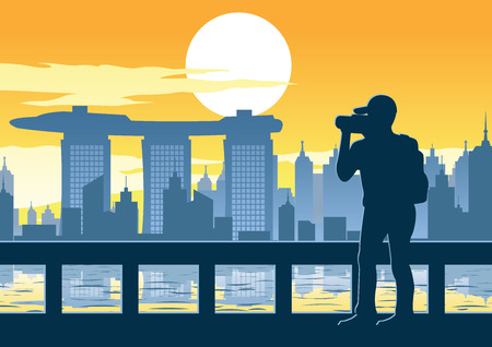 유명한 타워, 일몰 시간, 빈티지 색상, 벡터 일러스트 레이 션에 싱가포르의 최고 랜드 마크의 사진을 복용하는 사람