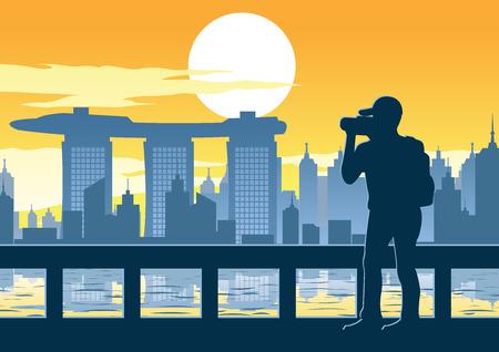 Mann, der ein Foto des berühmten Turms, des obersten Wahrzeichens von Singapur auf Sonnenuntergangszeit, Weinlesefarbe, Vektorillustration nimmt